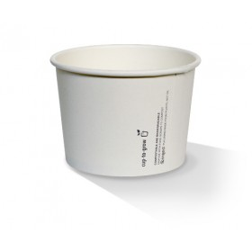 24oz PLA Hot/Cold Paper Bowl/plain white